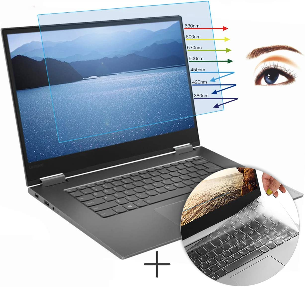 CaseBuy Anti-Glare Screen Protector Eye Protection Blue Light Filter for Lenovo Yoga 730 2-in-1 15.6 Inch & Ultra Thin TPU Keyboard Cover Accessories for Yoga 730 15.6""