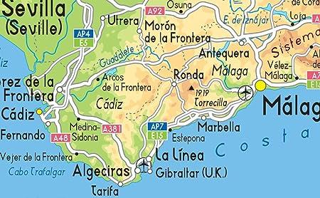 Mapa España Físico – Vinilo – A1 tamaño 59,4 x 84,1 cm: Amazon.es ...