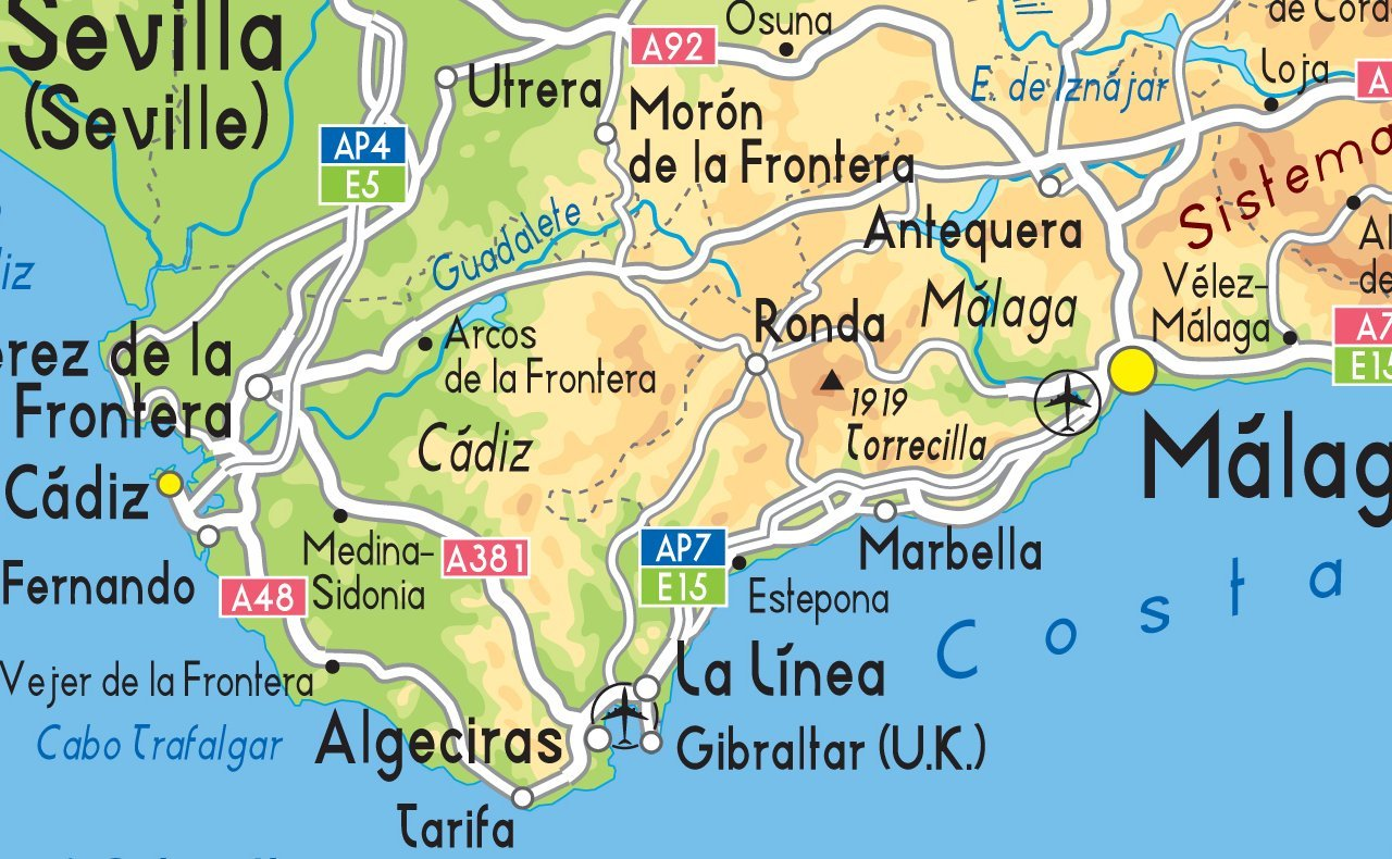 Mapa España Físico – Vinilo – A1 tamaño 59,4 x 84,1 cm