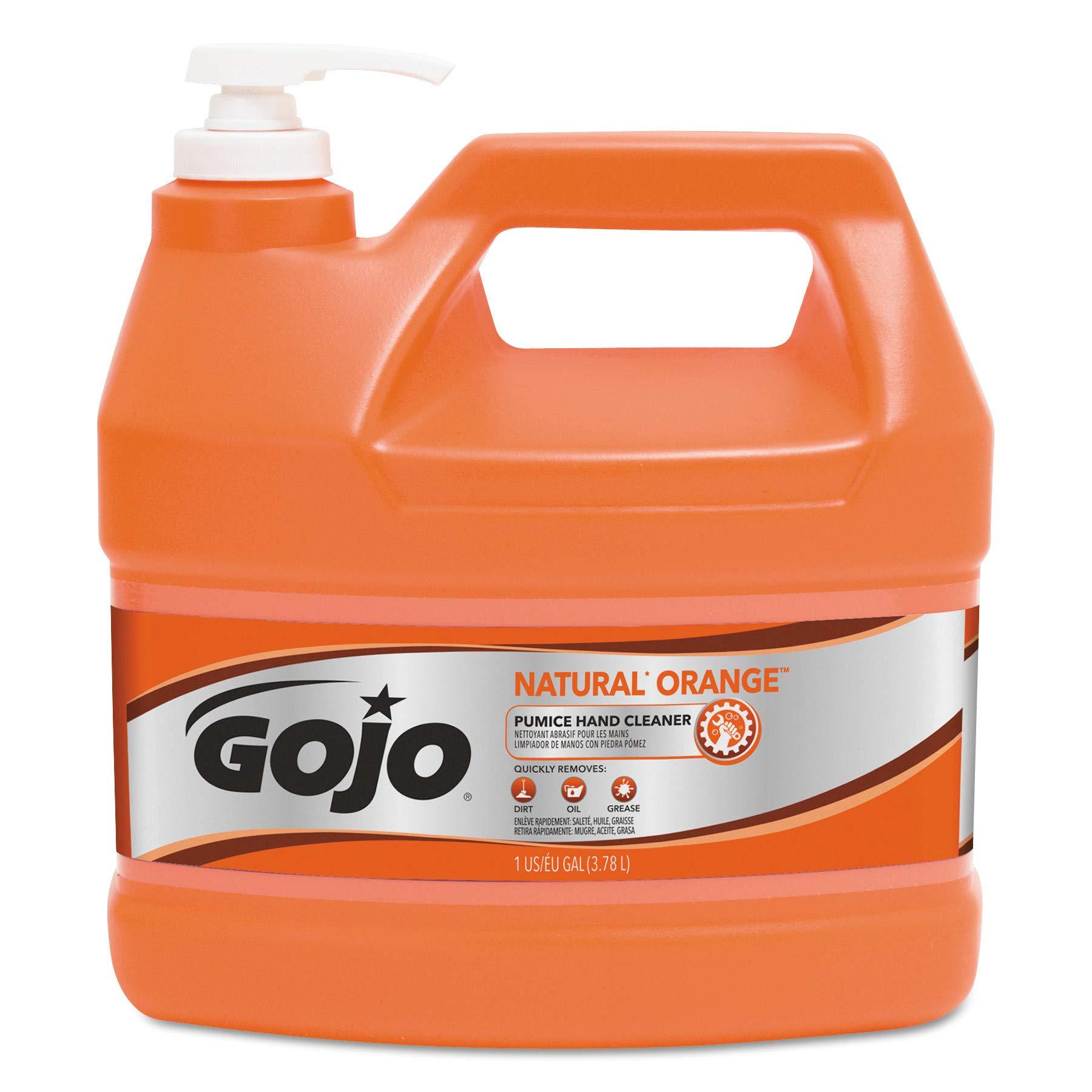 GOJO 095504CT NATUAL ORANGE Pumice Hand Cleaner, Orange Citrus, 1gal Pump (Case of 4)