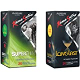 Kama Sutra Superthin and Long Last 20S Condoms, 20 Pieces Each - Pack of 2