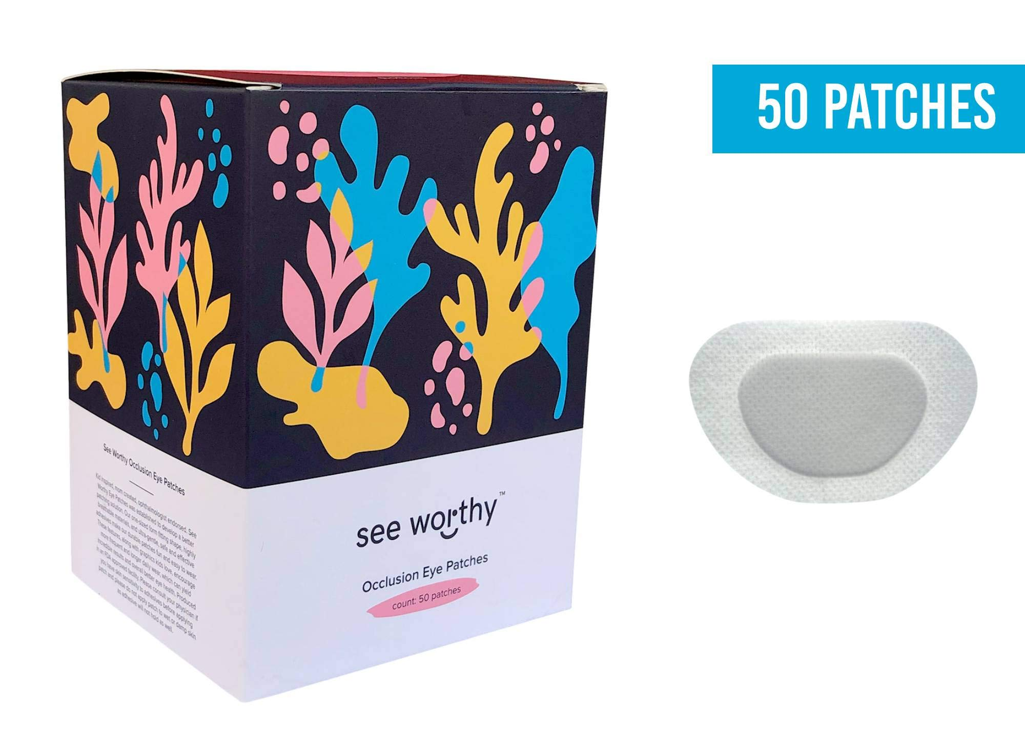 See Worthy White (Blank) Adhesive Kids Eye Patches, Innovative Shape, Smart Adhesive Technology, Breathable Material and New Shape, (50 per Box) (Regular Size)