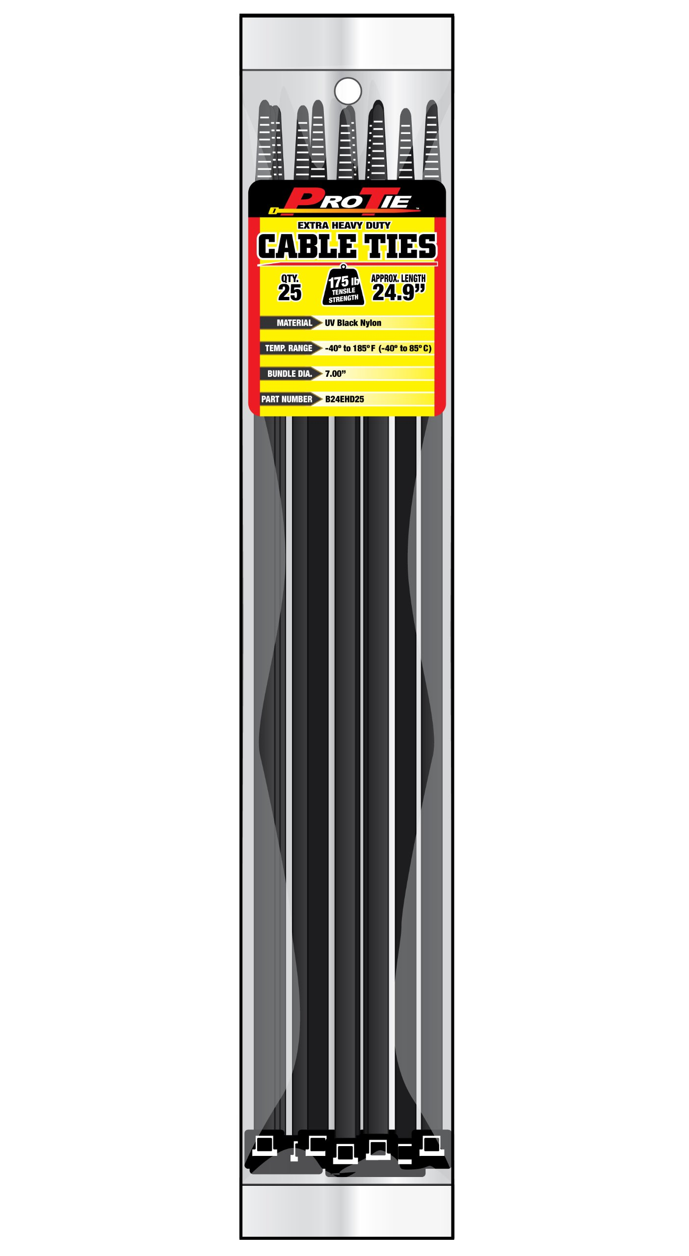 Pro Tie B24EHD25 24.9-Inch Extra Heavy Duty Standard Cable Tie, UV Black Nylon, 25-Pack