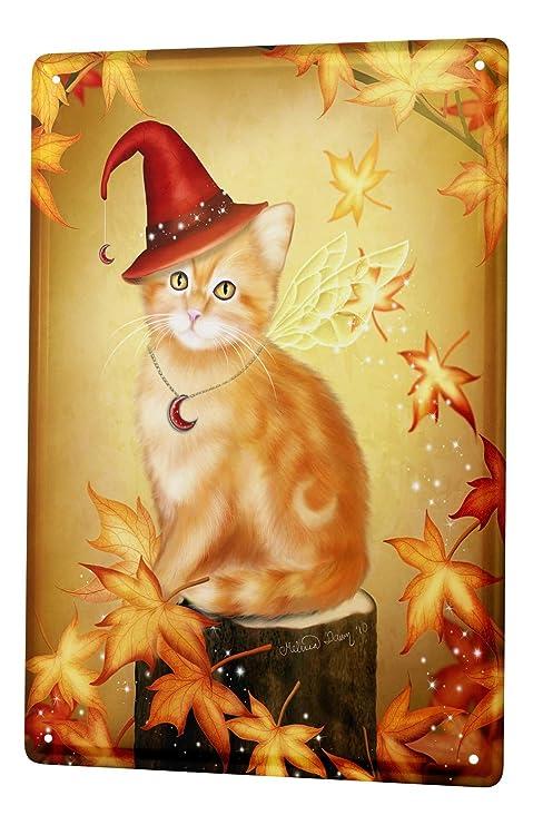 Decoración Gato Cartel de chapa Placa metal tin sign Katzen con sombrero rojo y las hojas