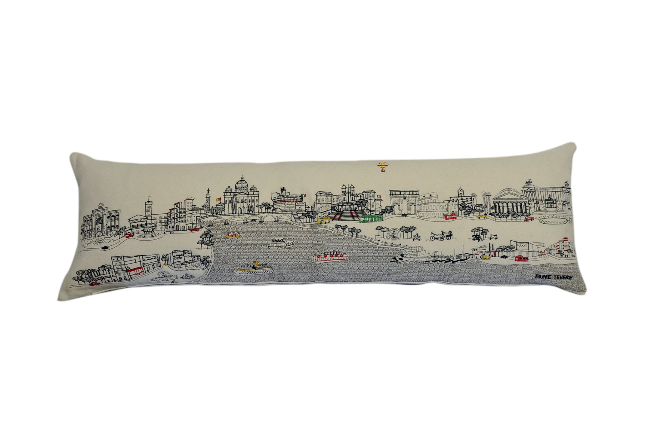 Beyond Cushions Polyester Throw Pillows Beyond Cushions Rome, Italy Daytime Skyline King Size Embroidered Accent Pillow 46 X 14 X 5 Inches Off-White