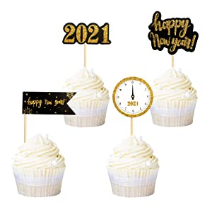 Ercadio 48 Pack Gold Glitter 2021 Happy New Year Cupcake Toppers with Clock hello 2021 New Year's Eve Cupcake Picks 2021 Holiday Celebrating Party Cake Decoratons