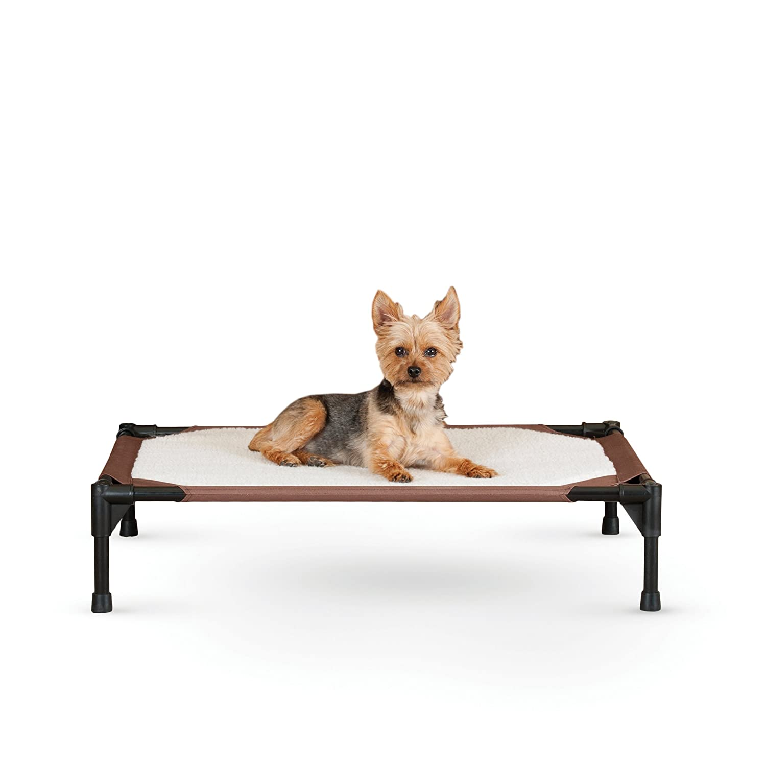 K H Pet Products Self-Warming Pet Cot Elevated Pet Bed – Chocolate Fleece