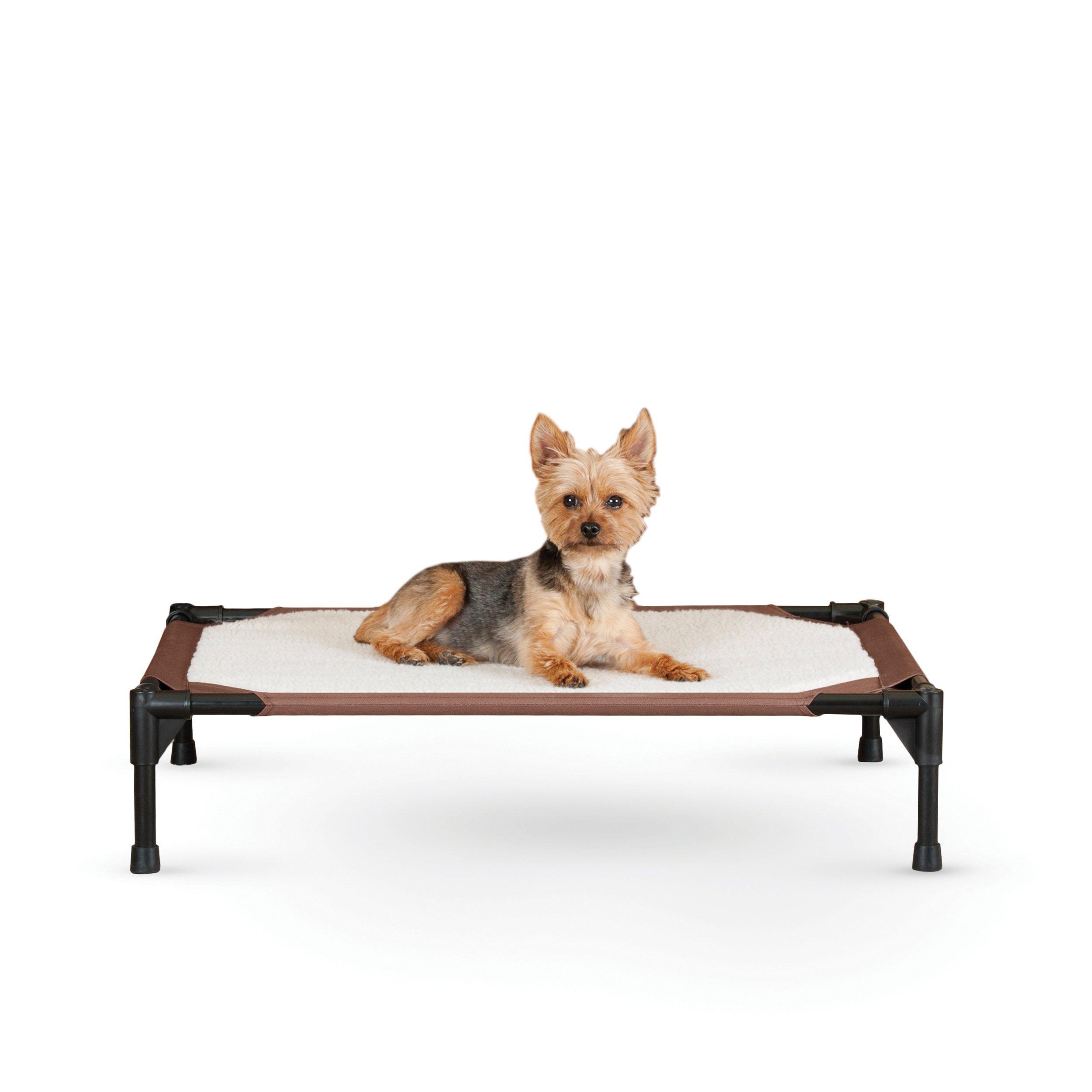 K&H Pet Products Self-Warming Pet Cot Elevated Pet Bed Medium Chocolate/Fleece 25'' x 32'' x 7''