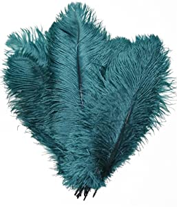 MELADY Pack of 50pcs Natural Ostrich Feathers Centerpieces 8-10inch(20-25cm) for Home Wedding Party Decoration (Teal)