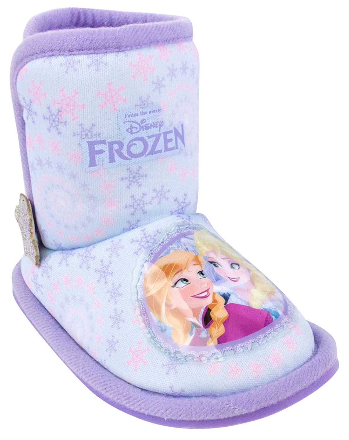 Price Low Girls Infant Disney Frozen Character Elsa Anna Snowflake Heart Velcro Warm Slippers