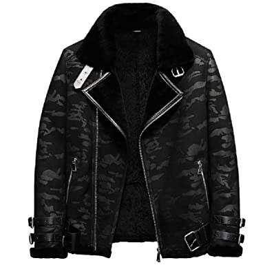 c4b4ddd1381 Black Camouflage B3 Jacket Men s Shearling Leather Jacket Original Flying  Jacket Men s Fur Coat Aviation Leathercraft