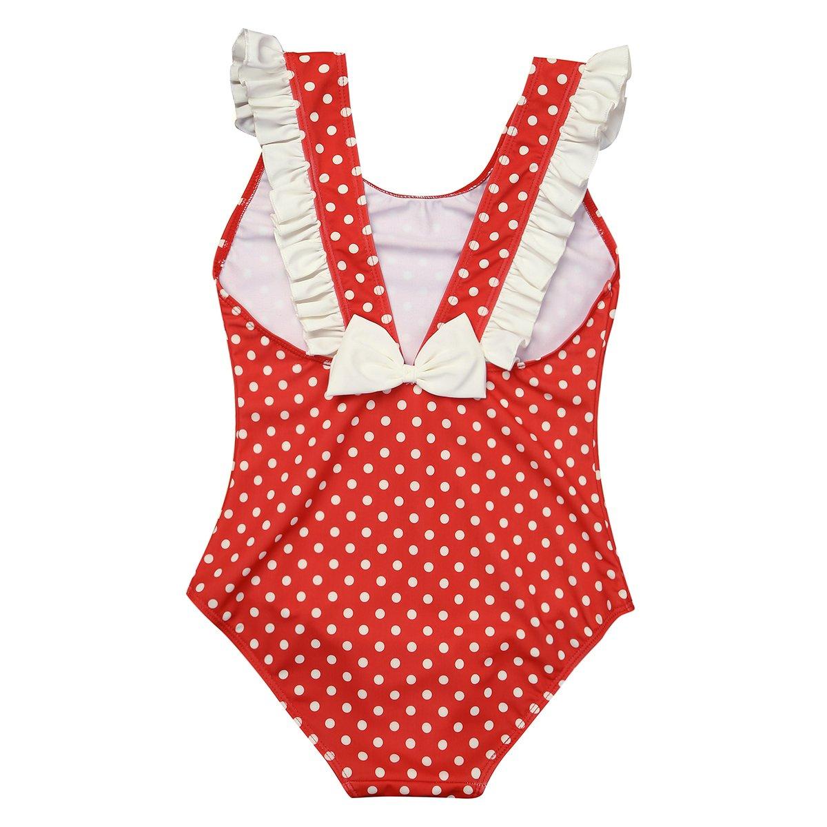 winying Kids Girls Red One Piece Polka Dots Deep V Back Swimsuit Beachwear