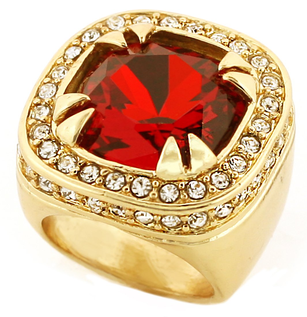 Gold Tone Synthetic Red CZ Stone Mens Rick Ross Hip Hop Style Ring (8)