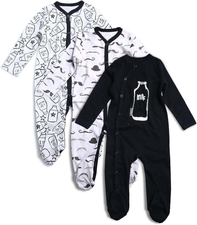 OPAWO Baby Boys Footed Sleeper Cotton Pajamas Long Sleeve 3 Pack