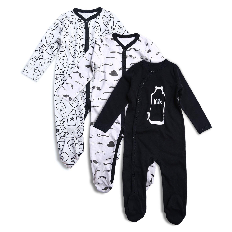 OPAWO Baby Boys' Footed Sleeper Cotton Pajamas Long Sleeve 3 Pack
