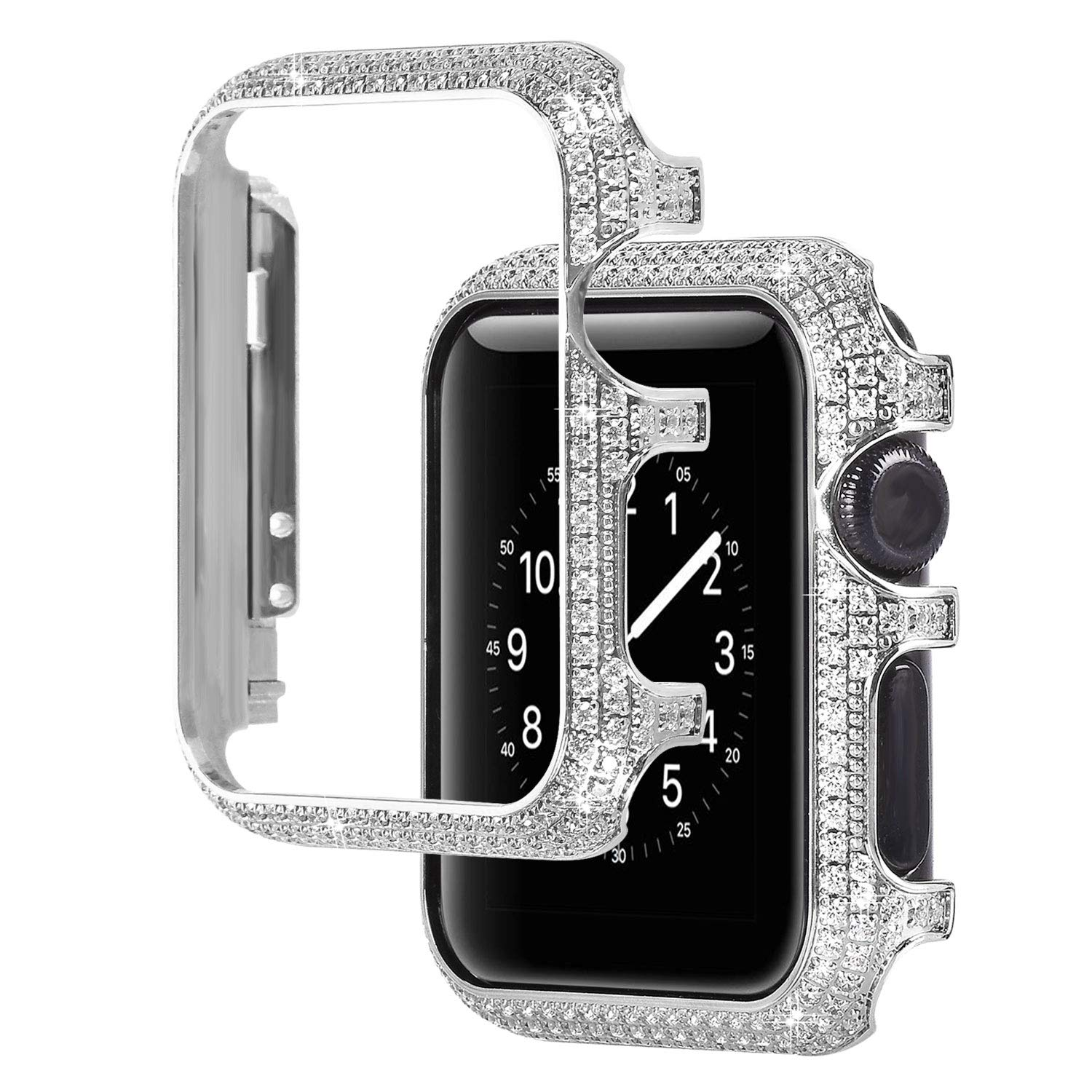 For Apple Watch 38mm, LolStore Sparkle Rhinestone Glitter Diamond Aluminum iWatch Face Cover Metal Protective Frame Case Protector Bumper for iWatch Series 1/2/3 - Silver
