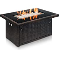 Outland Fire Pit Table U2013 Propane Gas With Auto Ignition U2013 Tempered Glass  Table Top U2013