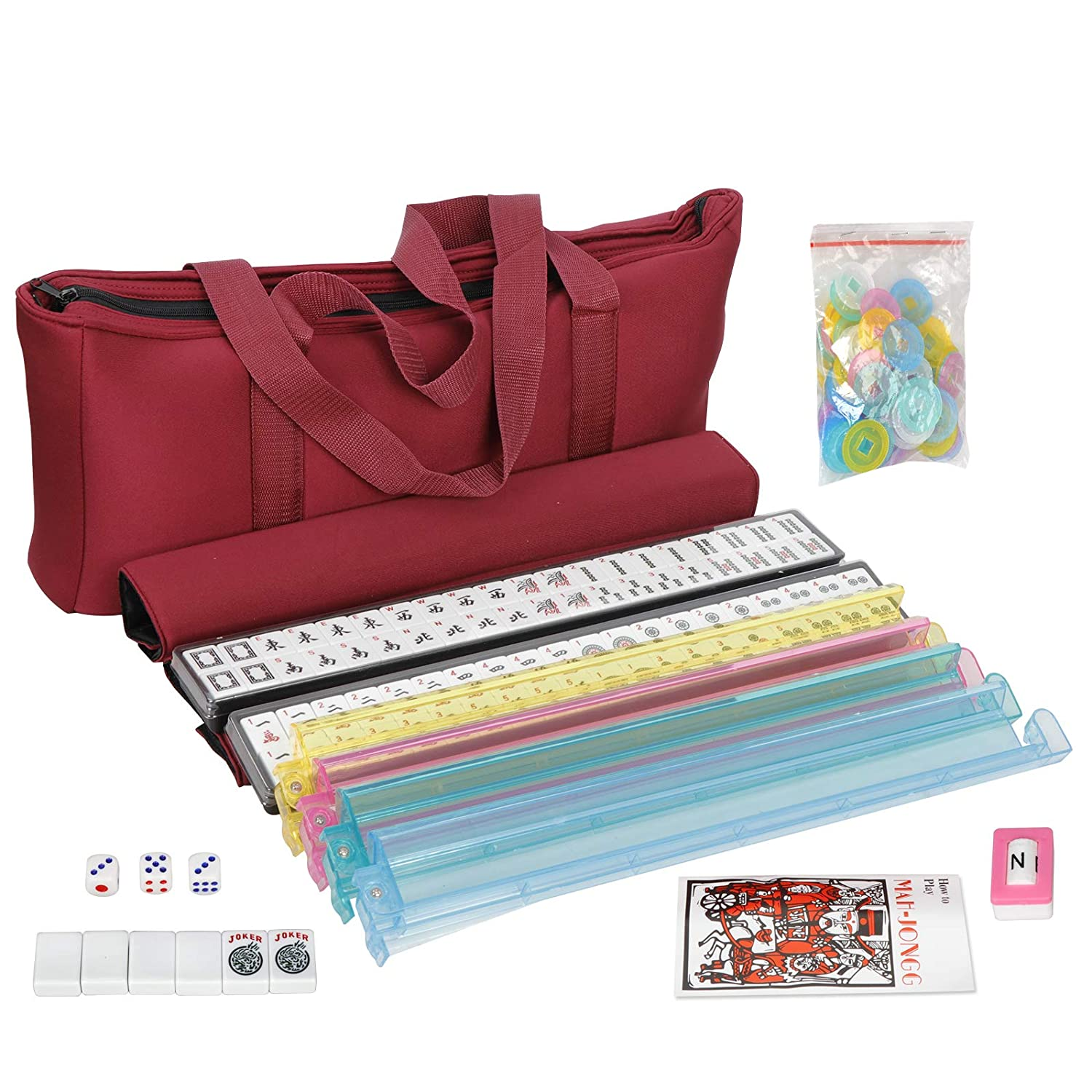 Stylish Full Size Complete Mah Jongg Set American Mah Jongg Mahjong 166 Tile Set with 4 All-in-One Rack//Pushers,Soft Bag