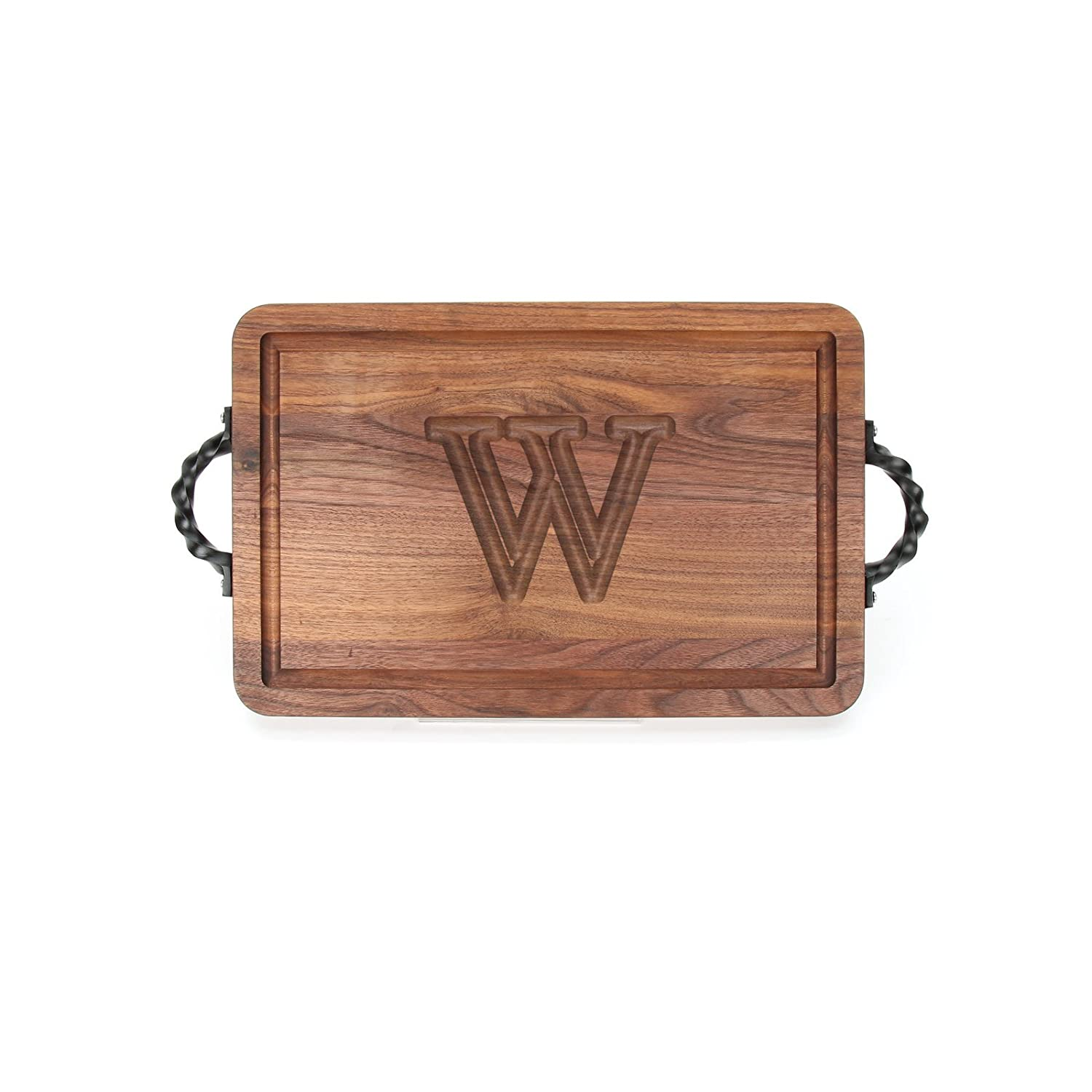 Walnut MonogrammedY BigWood Boards W200-STWS-Y Thick Bar//Cheese Board with Twisted Square End Handle 9-Inch by 12-Inch by 3//4-Inch