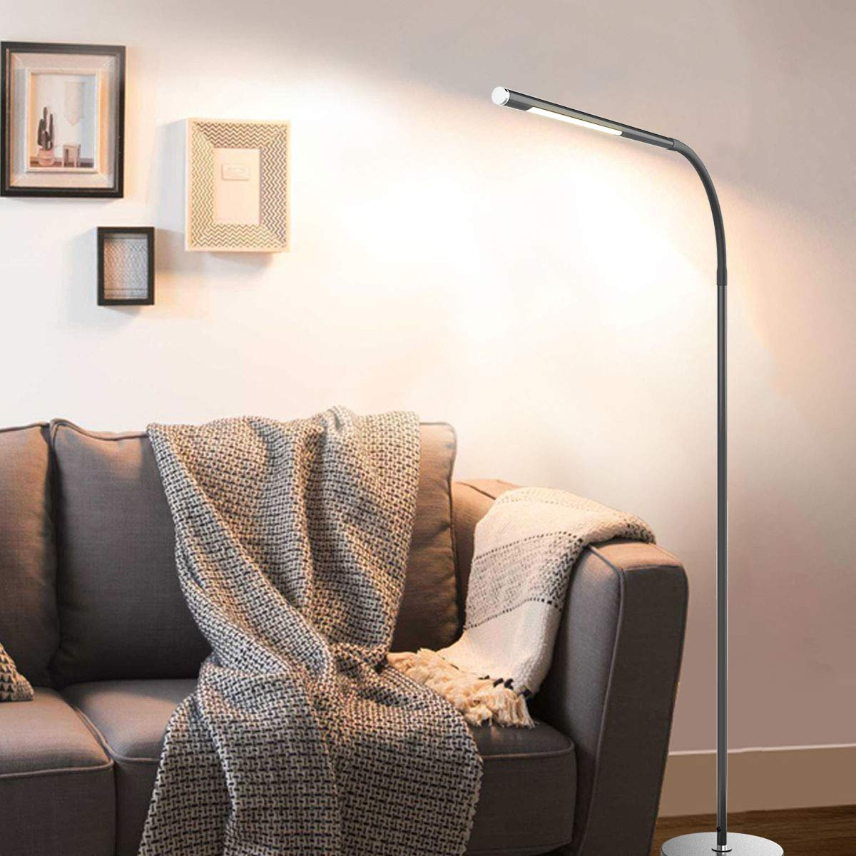Joly Joy LED Modern Floor Lamps, Flexible Gooseneck Standing Reading Light W/Stable Base, 4 Color & 5 Brightness Dimmer, Touch & Remote Control, for Living Room, Chair, Couch, Office Task (Black) by Joly Joy (Image #8)