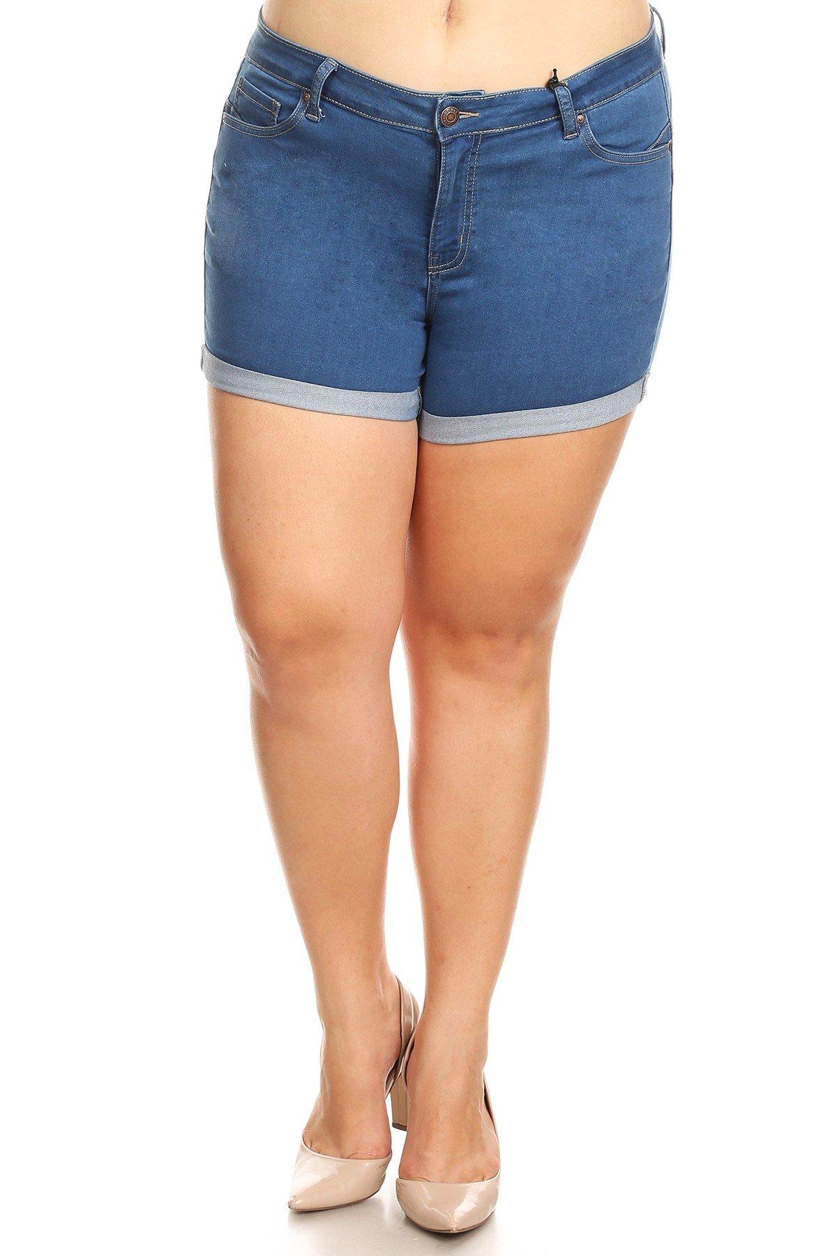 Women's Plus Size High Waist Fitted Denim Jean Shorts (2XL, Medium) by Wax Jean