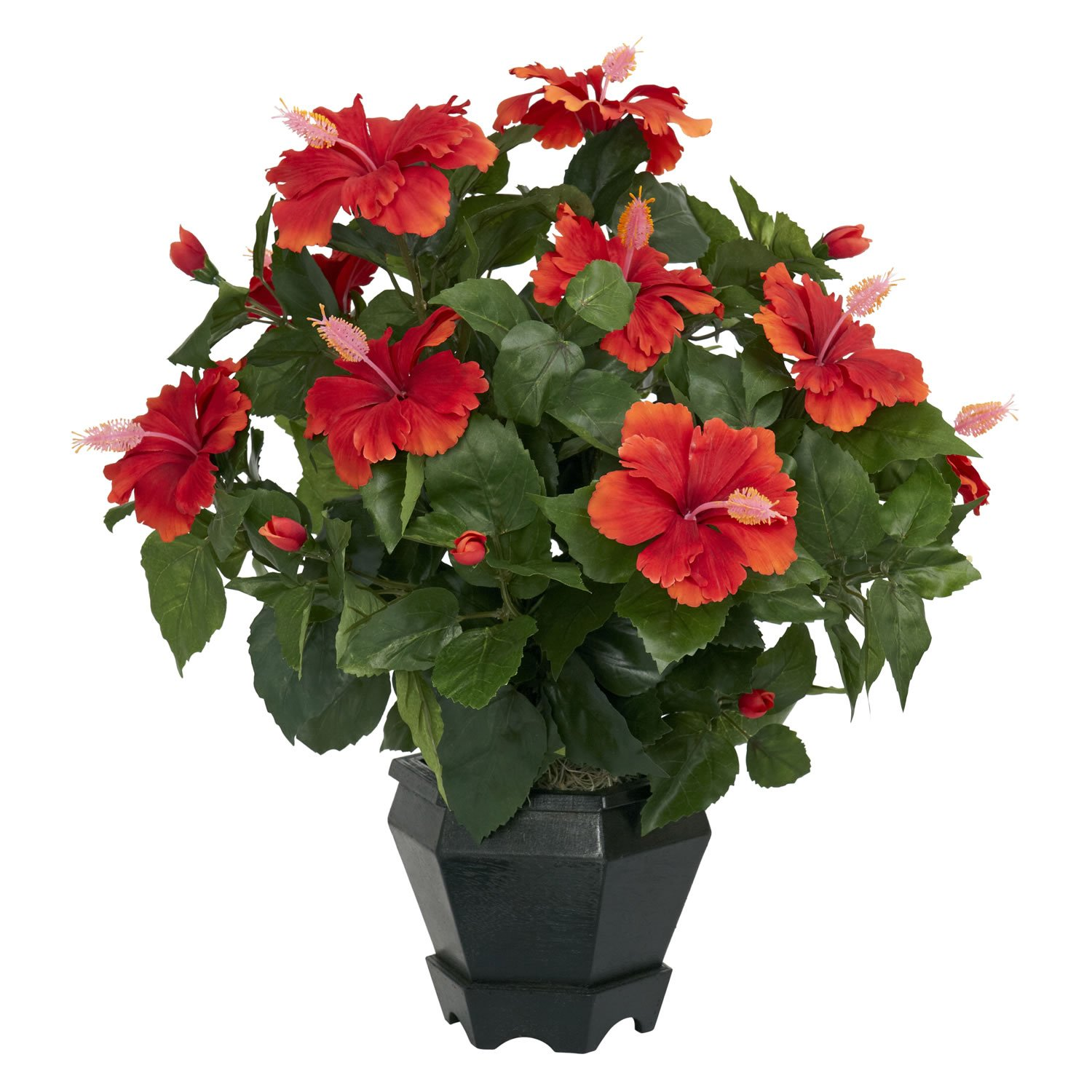 Orange Nearly Natural 6691 Hibiscus with Black Hexagon Vase Decorative Silk Plant