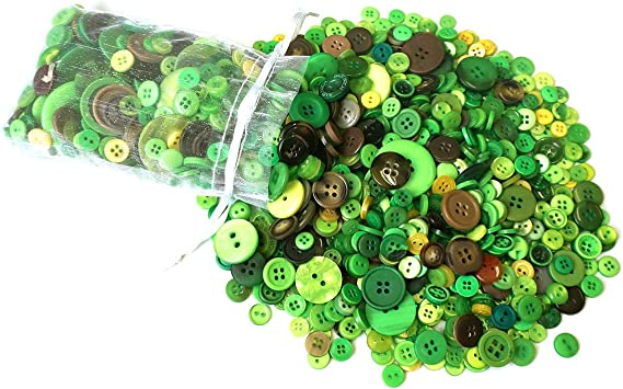 12mm Green 2 Hole Button x 8 buttons