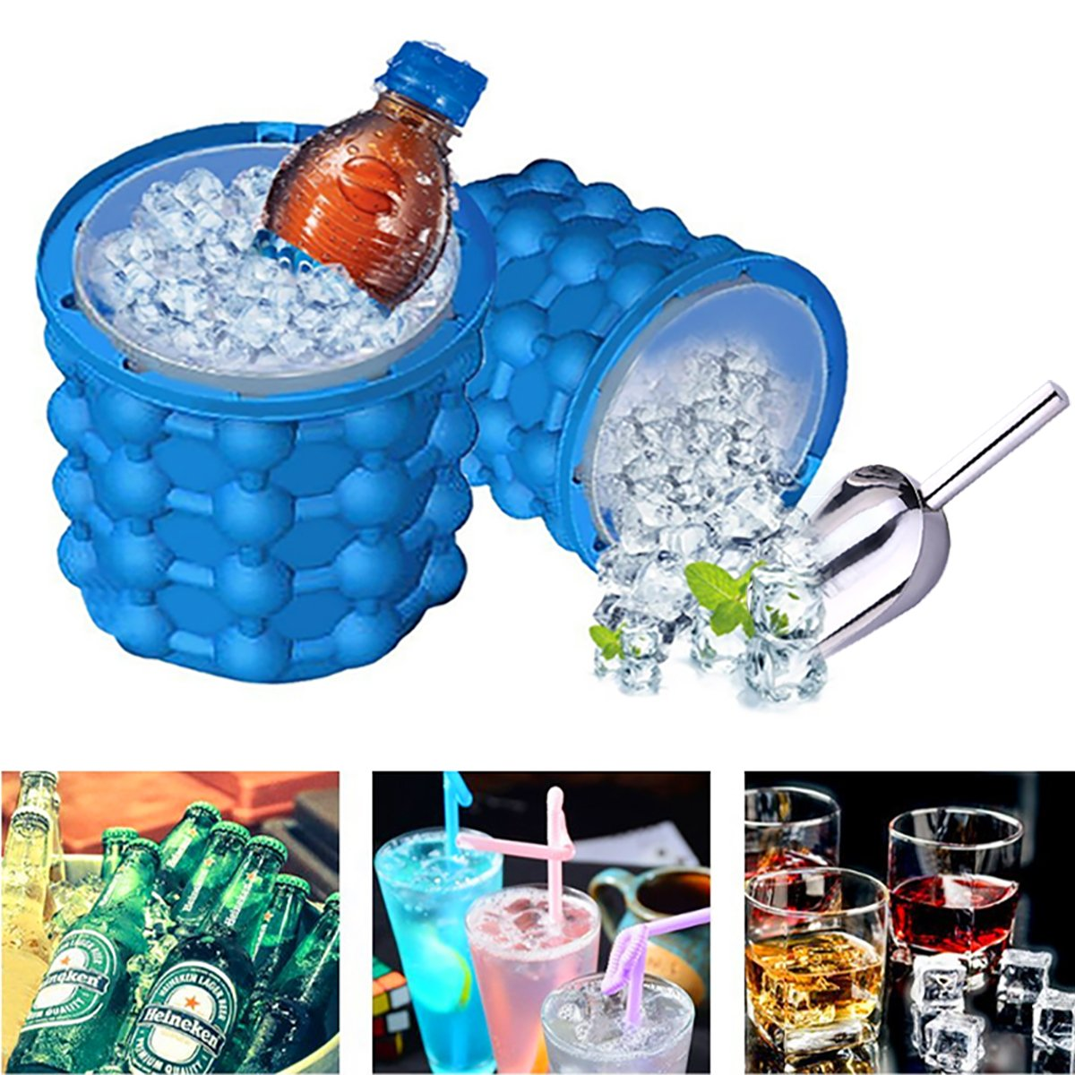 DierCosy Ice Cube Maker Ice Cube Tray 2 in 1 Silicone Ice Bucket Dual-use Revolutionary Space Saving for Beer, Whiskey Summer Home Party Kitchen Tools with Tong blue
