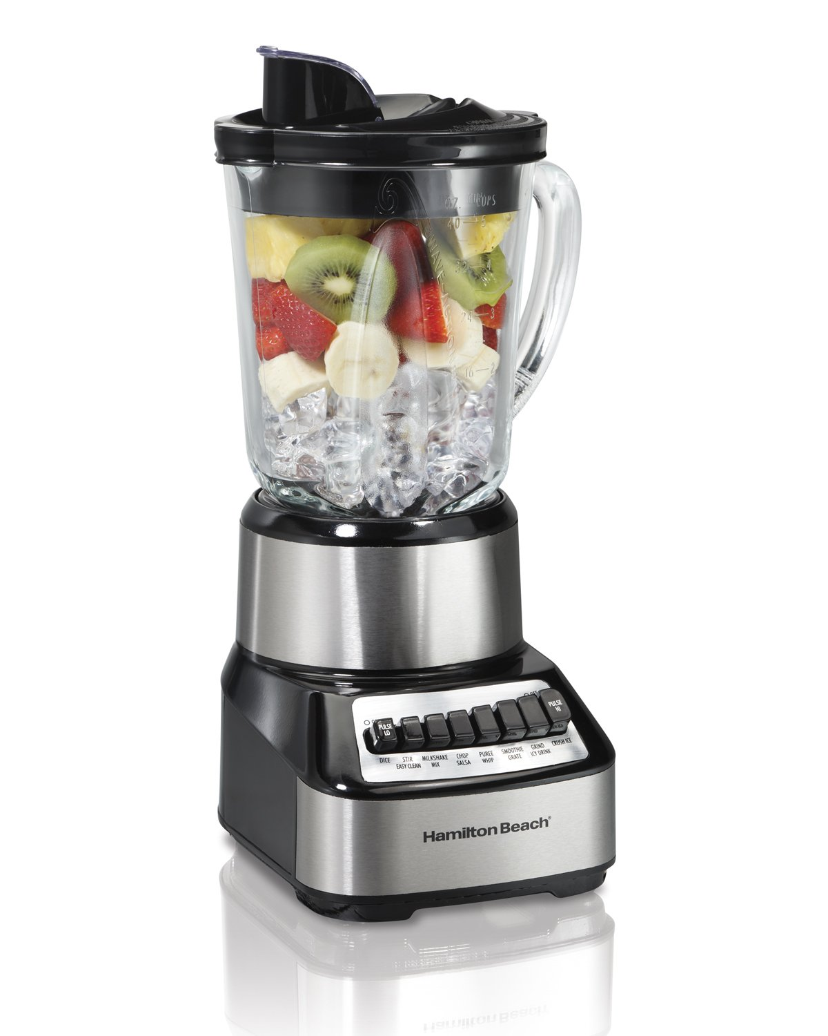 Hamilton Beach Wave Crusher Blender with 40oz Glass Jar and 14 Functions for Puree, Ice Crush, Shakes and Smoothies, Stainless Steel (54221) by Hamilton Beach