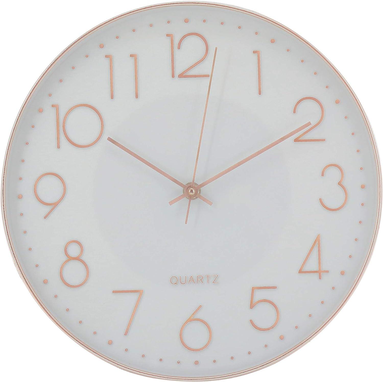 Elegance by Casa Chic - Reloj de Pared con Mecanismo Quartz - 30 cm Diámetro - Color Blanco y Oro Rosa