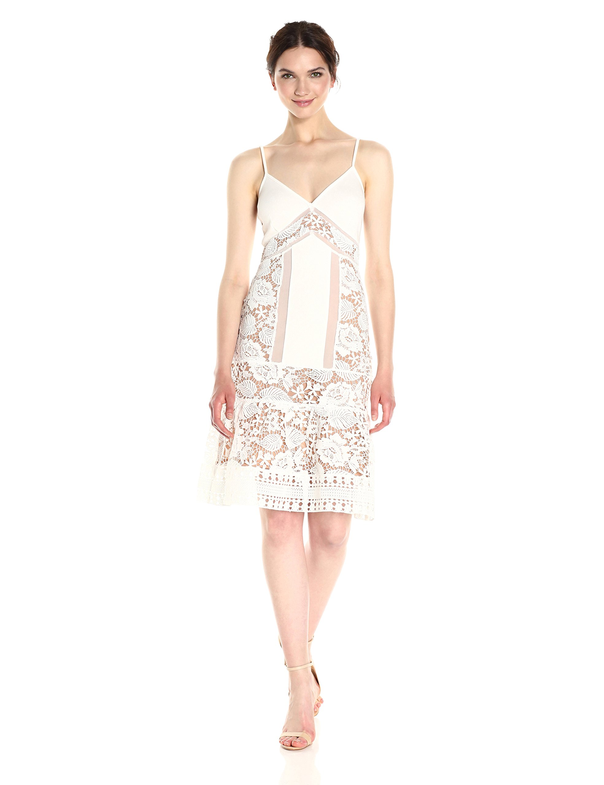 French Connection Women's Shaka Layer Jersey Dress, Summer White, 6