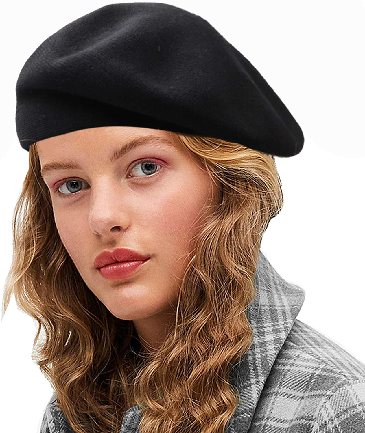 Womens Reversible Cashmere Beret Hat Double Layers French Beret Gray