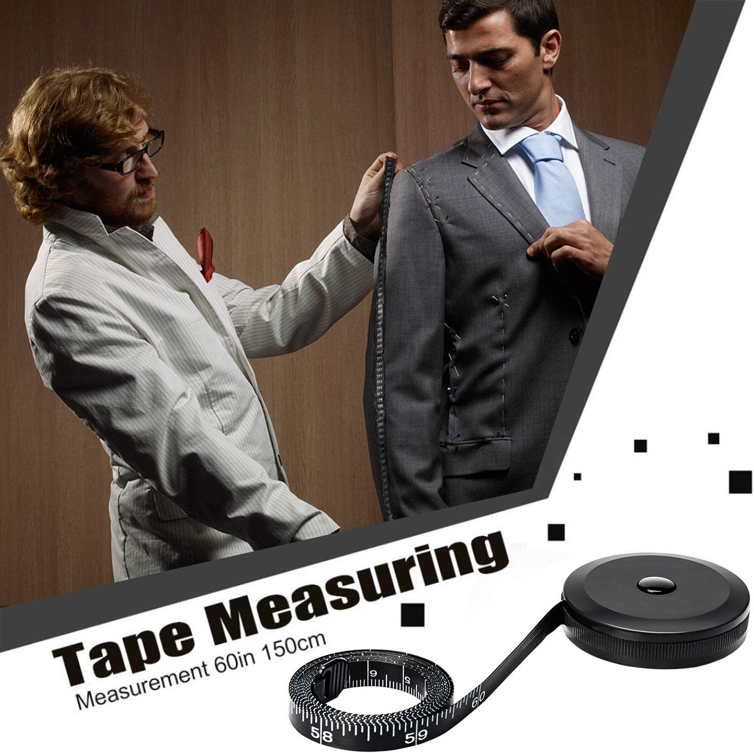 1Pcs Tape Measure for Body Cloth Ruler Measuring Tape for Sewing Tailor Fabric Measurements Tape Retractable Dual Sided Black 60-inch