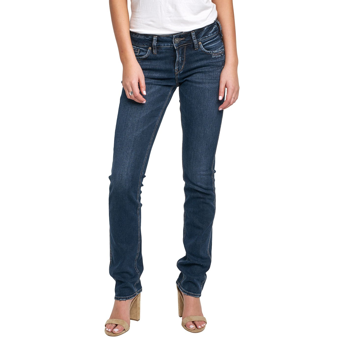 Silver Jeans Women's CO Elyse Relaxed Fit Mid Rise Straight Leg, Dark Wash Indigo, 28x30
