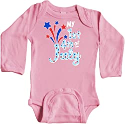 inktastic My First 4th of July with Dinosaur Long Sleeve Creeper