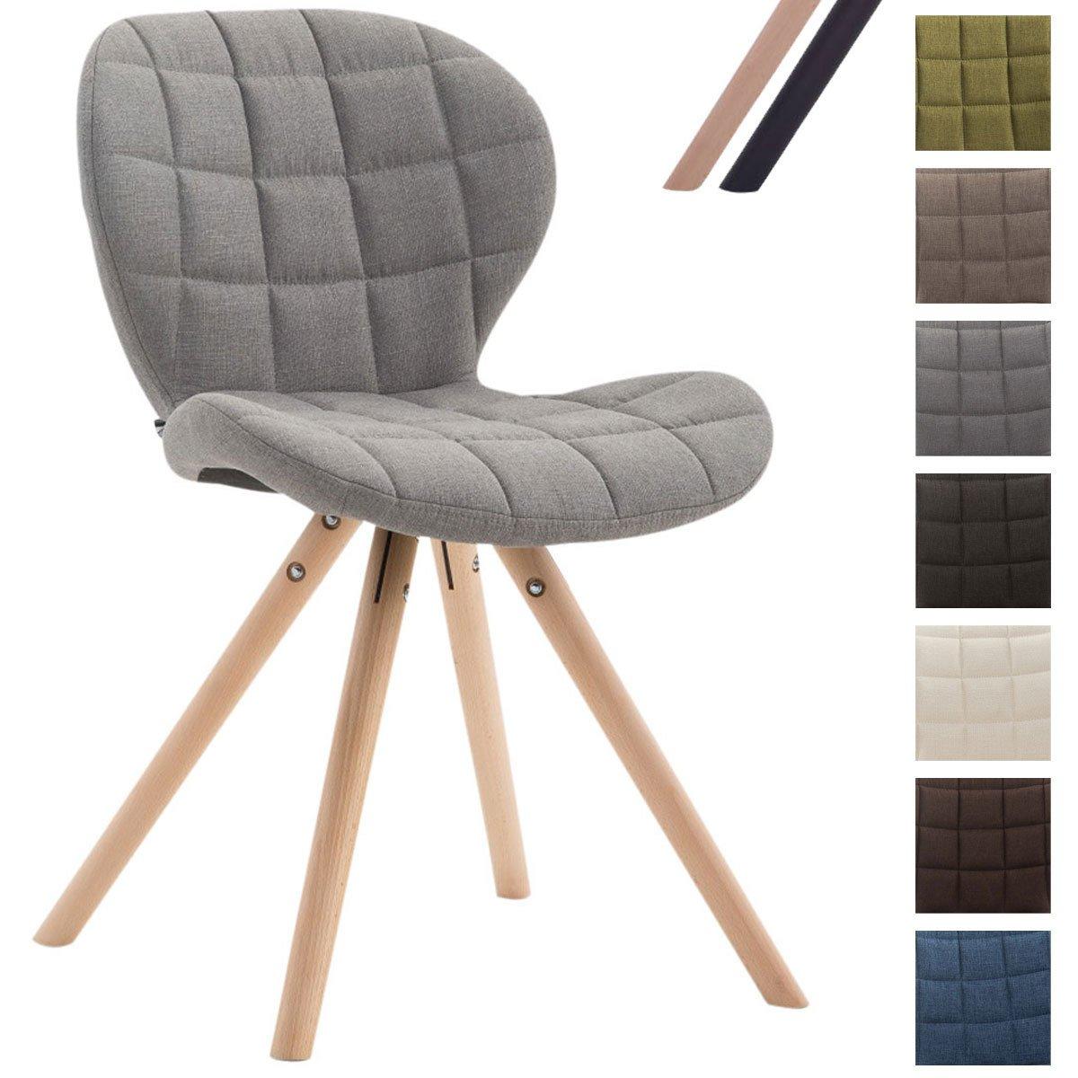 CLP Design Retrostuhl Alyssa mit Stoffbezug   Esszimmerstuhl mit runden Holzbeinen aus Buchenholz erhältlichöhellgrau, Gestellfarbe  Natura