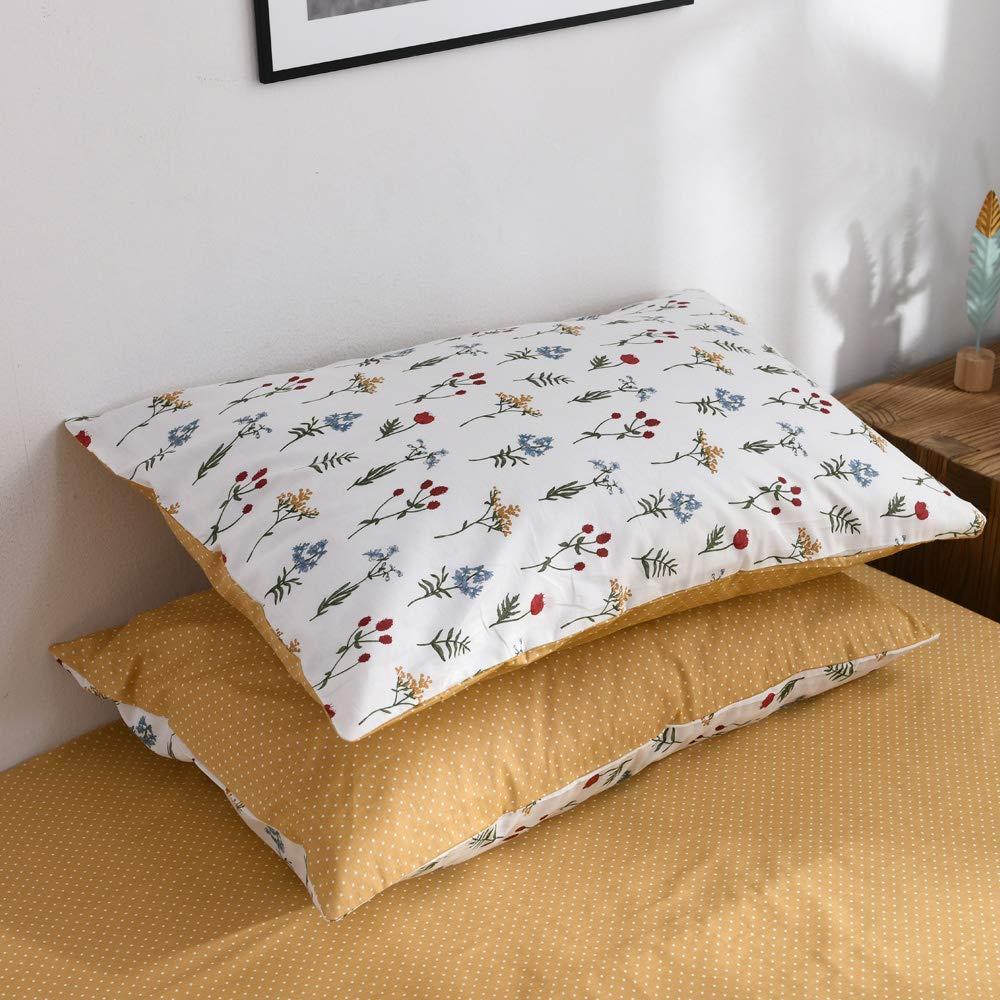 "Fresh Flower Pillowcases Set Cotton Floral Pillow Covers Soft Kids Girls Teens Pillow Shams Reversible Yellow Dots Standard Queen Decorative Pillowcases Set, Envelope Closure, (2 Pieces, 20""×26"")"