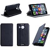 Nera Custodia Pelle Ultra Slim per Microsoft Lumia 950 XL 4G smartphone - Flip Case Funda Cover protettiva Nokia 950XL Dual SIM 5.7 pollici (Accessori PU Pelle - Black)