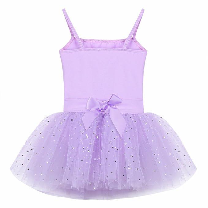 FEESHOW Ballet TuTú con Falda Tul Vestido Danza Leotardo Maillots gimnasia Elástico Tiras para niñas 3