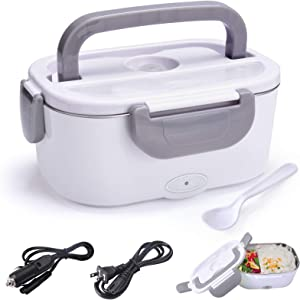 Electric Lunch Box Food Heater Warmer 2 in 1 for Home Office 110V and Car Truck 12V 40W Use Include 1.5L Removable Stainless Steel Container Spoon and 2 Compartments ( Gray)