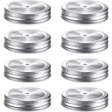 8 Pieces Stainless Steel Regular Mouth Mason Canning Jar Lids with Straw Hole Leak Proof Reusable Mason Silver Jar, Silver, 2