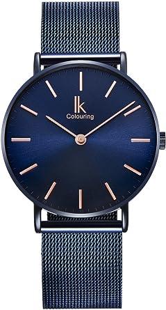 Alienwork Navy Blue Reloj Unisex Relojes Hombre Mujer Acero ...