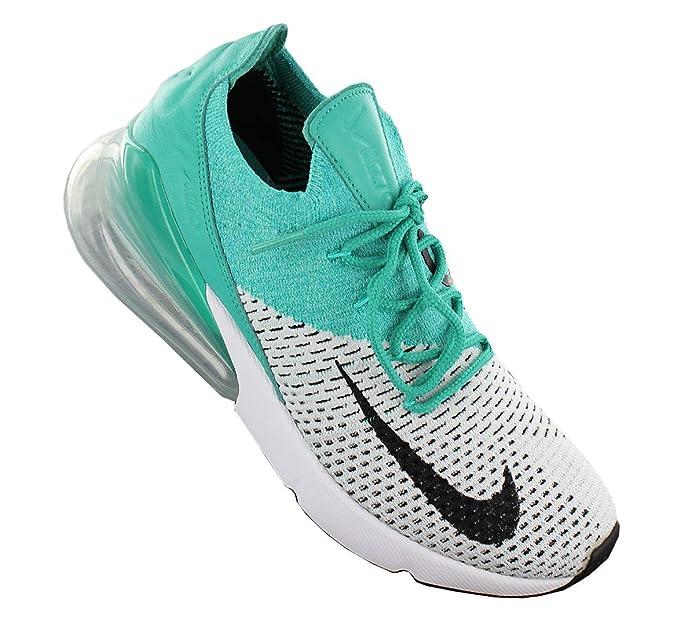Women's Shoe Nike Air Max 270 Flyknit Clear EmeraldPure PlatinumWhiteBlack AH6803 300