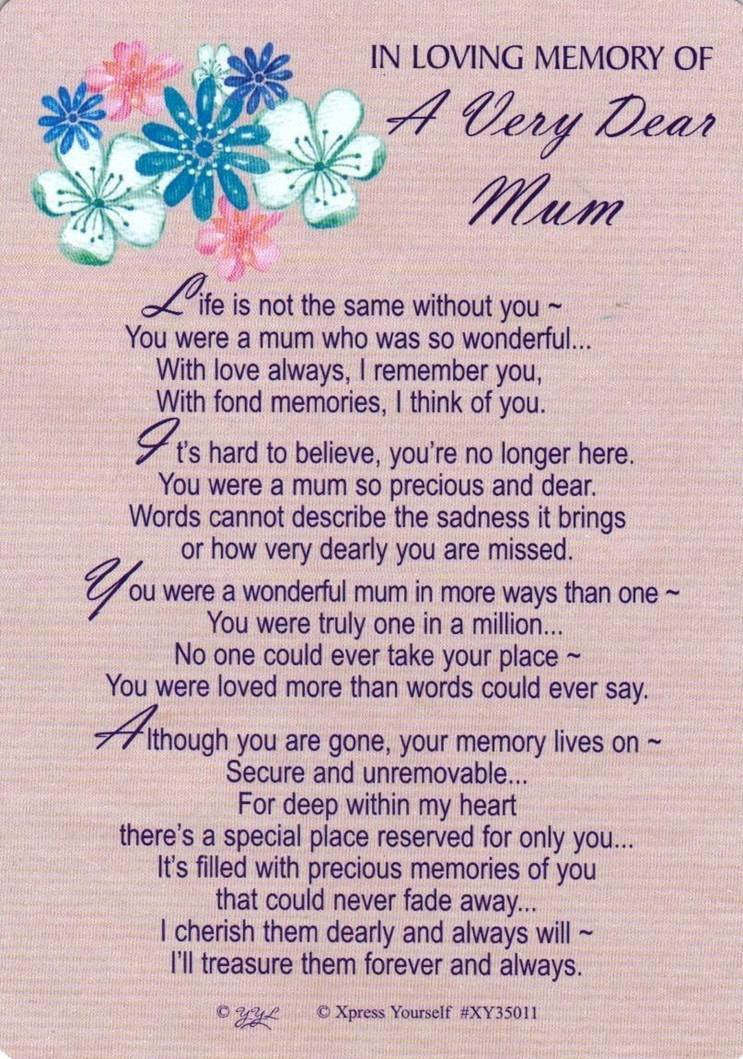 Grave Card to My Dearest Mum Memorial Card Poem Funeral – Funeral Words for Cards
