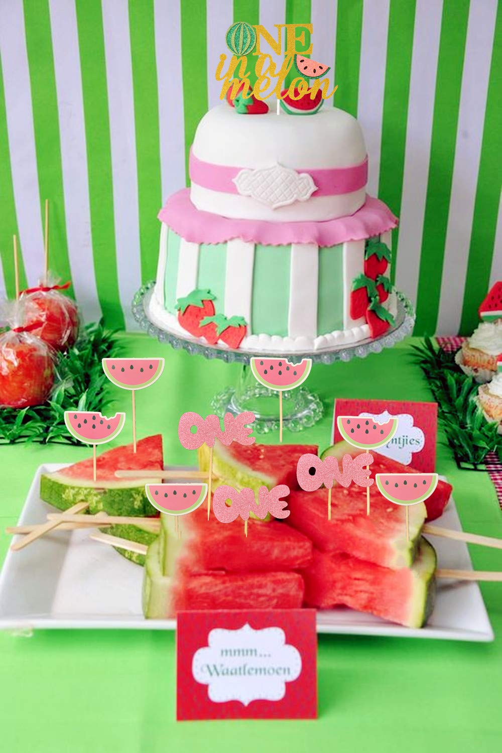 JeVenis Set of 25 Watermelon Cupcake Topper Watermelon One Cupcake Topper Baby Girl First Birthday Cupcake Topper by JeVenis (Image #5)