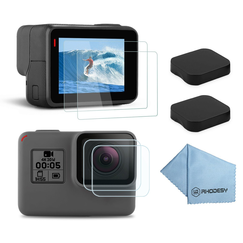 ee15b582b5c5 Rhodesy Screen Protector for GoPro Hero 7 Black Hero (2018) HD Hero 6 Hero  5, Ultra-Clear Tempered-Glass LCD Display Screen Protector + Lens Cover Cap  ...