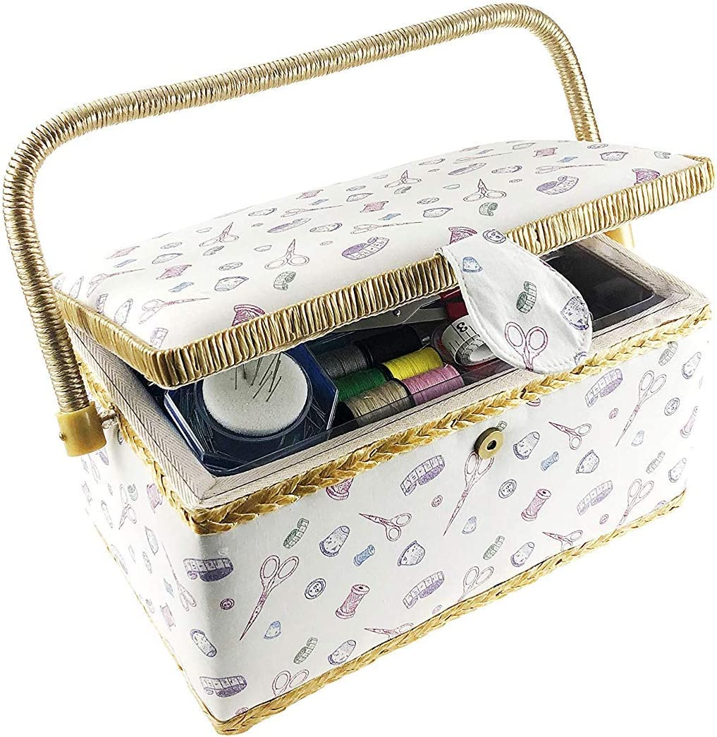 Starter Kit Sewing Basket Organizer Box Kit with Hand Sewing Supplies and Notions 33 x 22.9 x 15.2 cm Rectangular Shaped