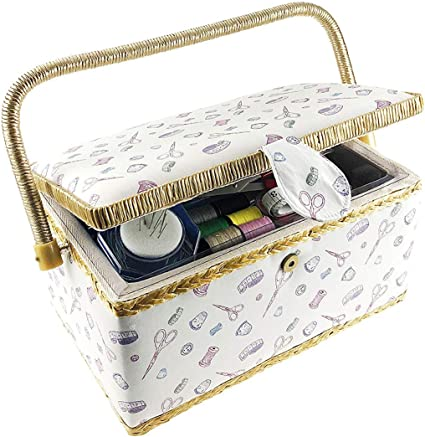 Household Sewing Box Dormitory Sewing Kits Vintage Floral Design Small Sewing Basket Box Sewing Basket with Tulip Floral Print Design