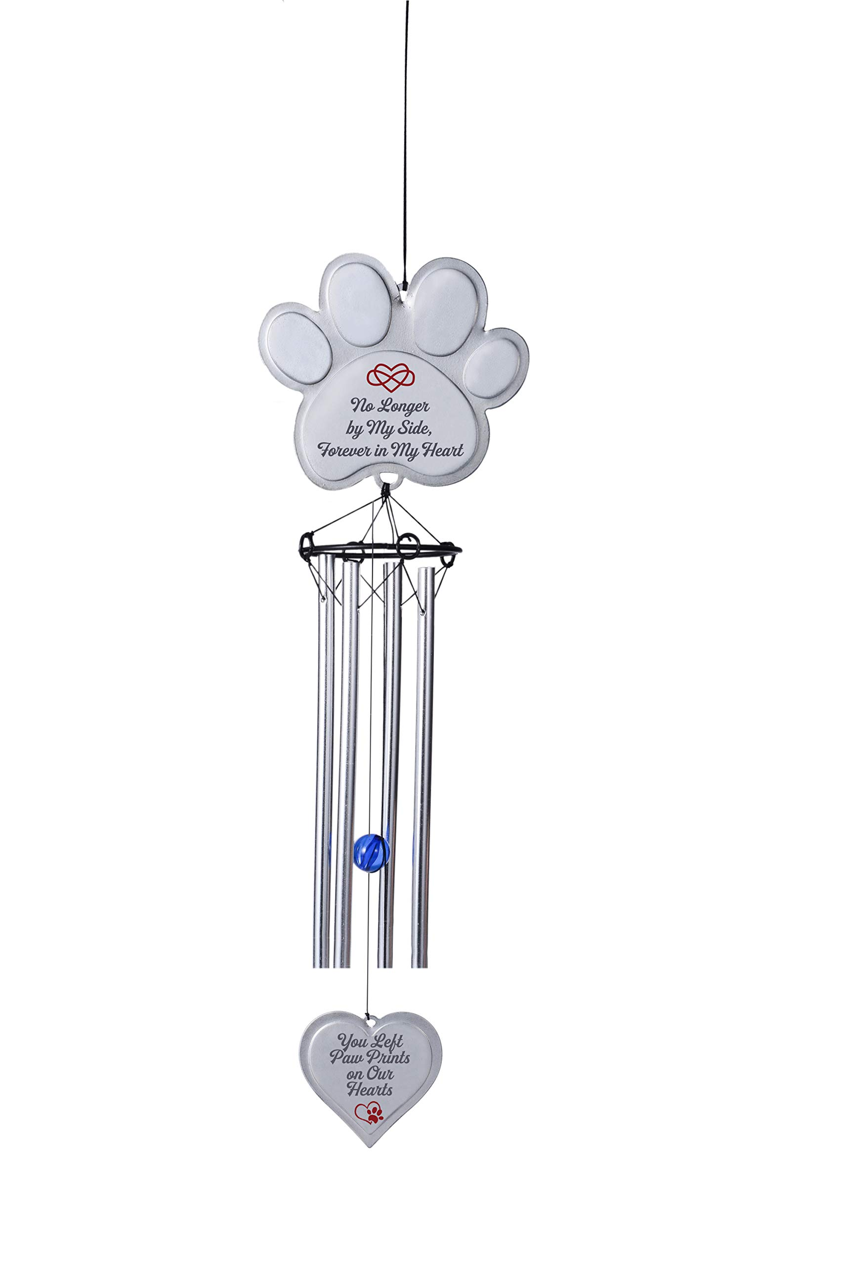 EXPAWLORER Pet Memorial Wind Chime Gifts Pawprint Dog Remembrance Wind Chime with Heart-Shaped Pendant, Pet Loss Gifts, No Longer by My Side, Forever in My Heart