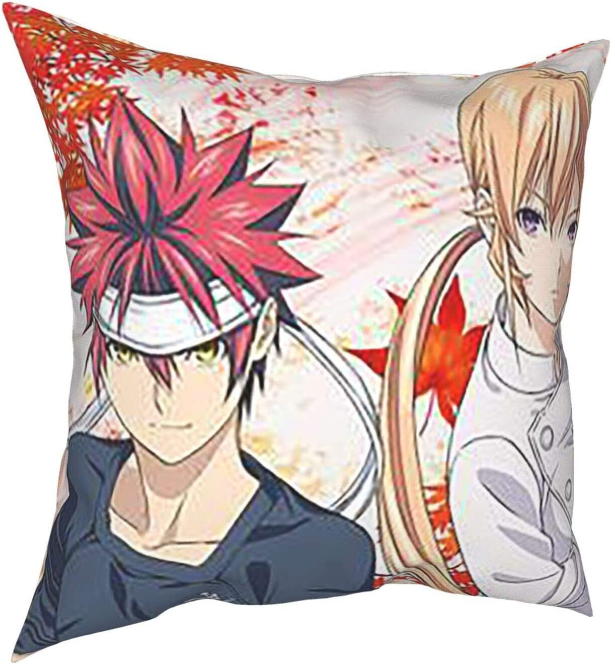 SHGDI Food Wars Throw Pillow Cover Decorative Square Pillowcase Super Soft Farmhouse Cushion Case for Sofa Couch Bed Home Decoration
